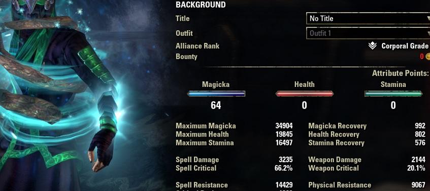 Solo Magicka Warden Build buffed stats ESO