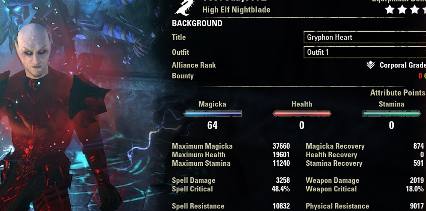Vampire Nightblade build pve buffed stats ESO