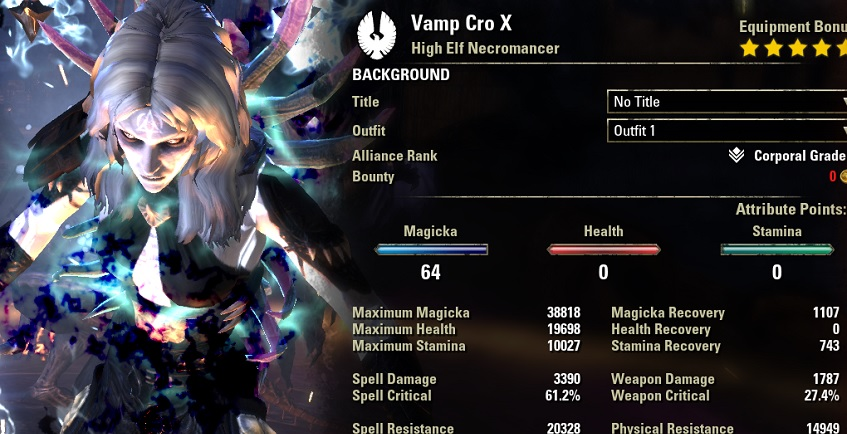 Solo Vampire Necromancer pve build buffed stats ESO