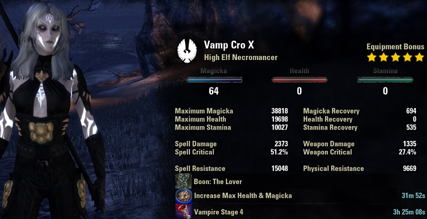 Solo Vampire Necromancer pve build unbuffed stats ESO