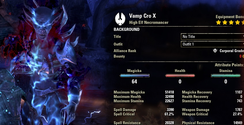 Solo Vampire Necromancer pve build vampire form ESO