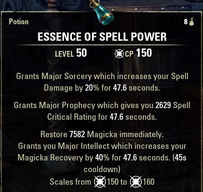 Essence of Spell Power Potion ESO new
