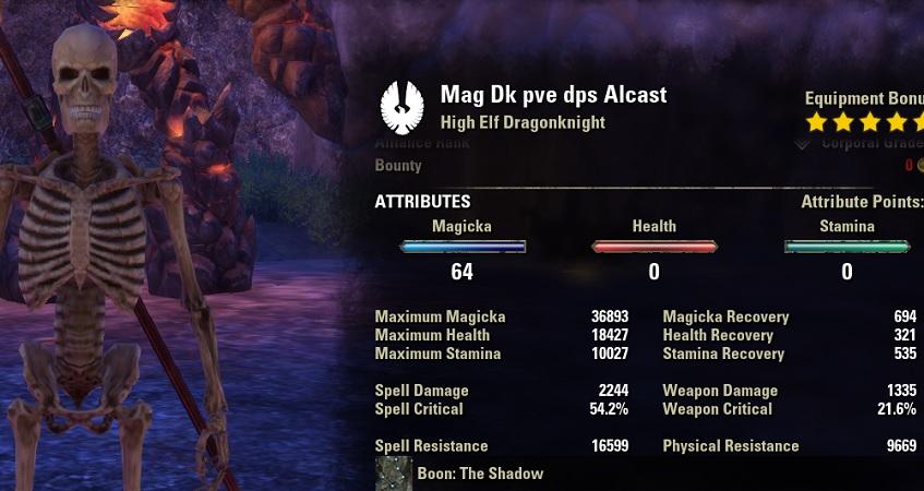 Magicka Dragonknight pve dps build unbuffed stats ESO