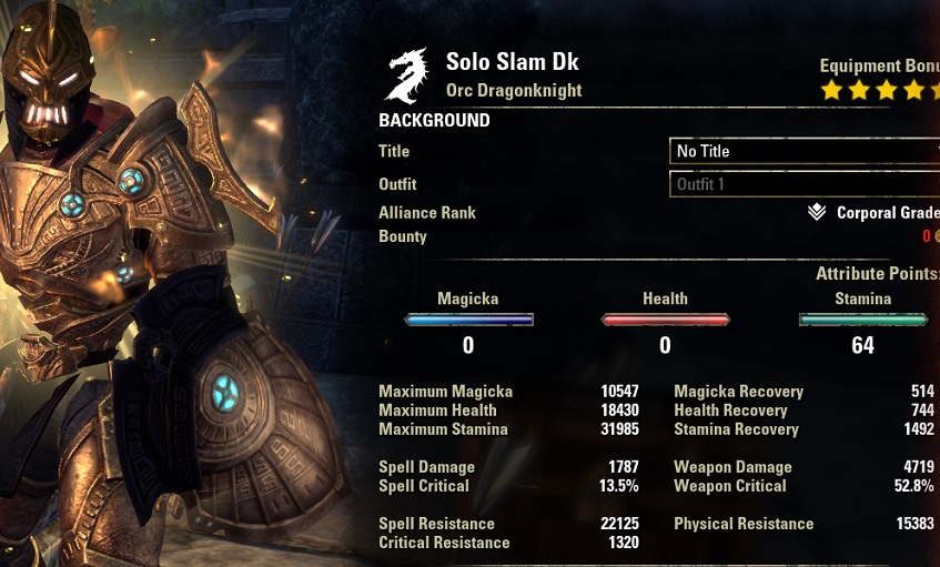 Solo Slam Dragonknight buffed stats ESO