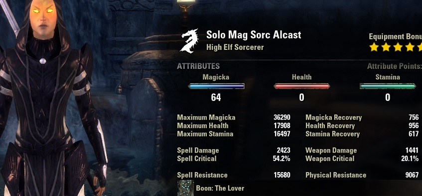 Solo Magicka Sorcerer Build unbuffed Stats ESO