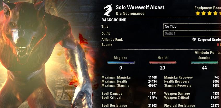 Solo Werewolf Build buffed ESO