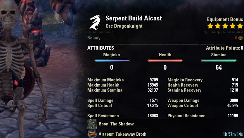 2h Stamina Dragonknight Build For Eso Damage Dealer Dps Alcasthq