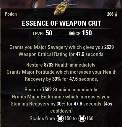 Essence of Weapon Crit Potion CRITHPSTAM ESO