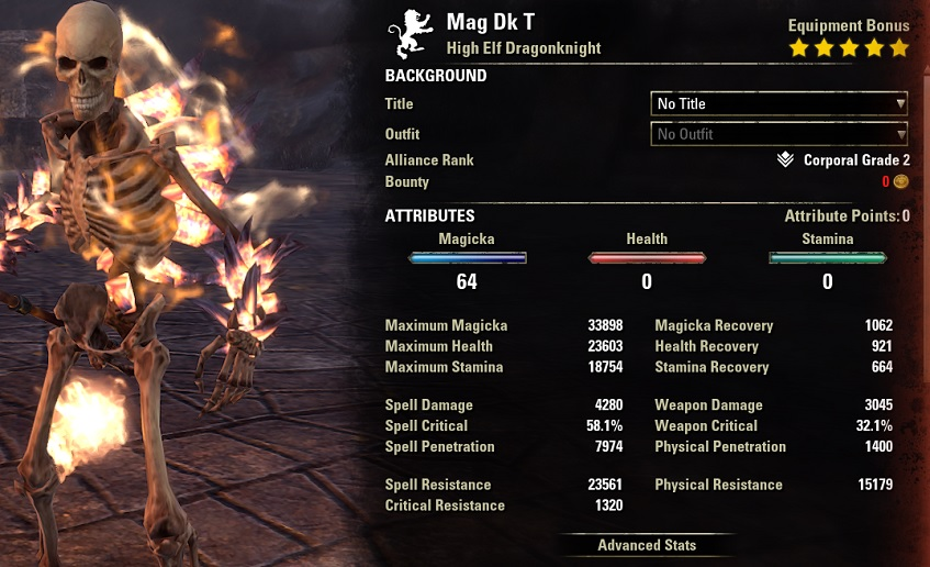 Solo Magicka Dragonknight Build buffed stats ESO1
