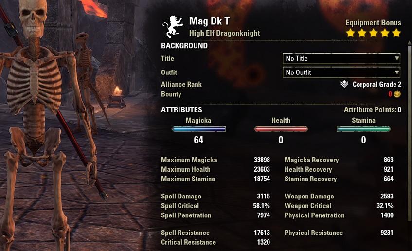 Solo Magicka Dragonknight Build unbuffed stats ESO1