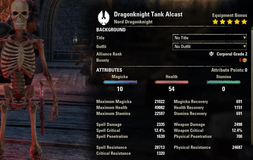 Dragonknight Tank Build unbuffed stats ESO30