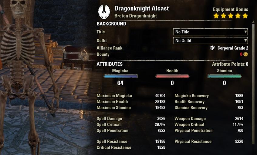 Magicka Dragonknight PVP build unbuffed stats ESO30