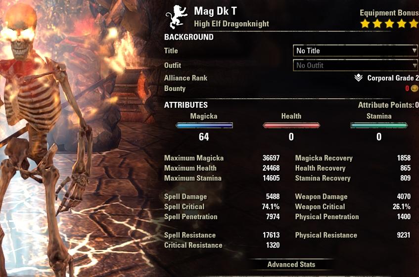 Magicka Dragonknight dps build buffed stats ESO