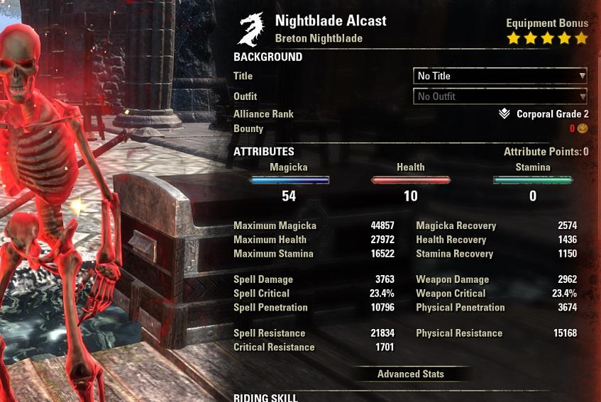 Magicka Nightblade PvP Build buffed stats ESO30