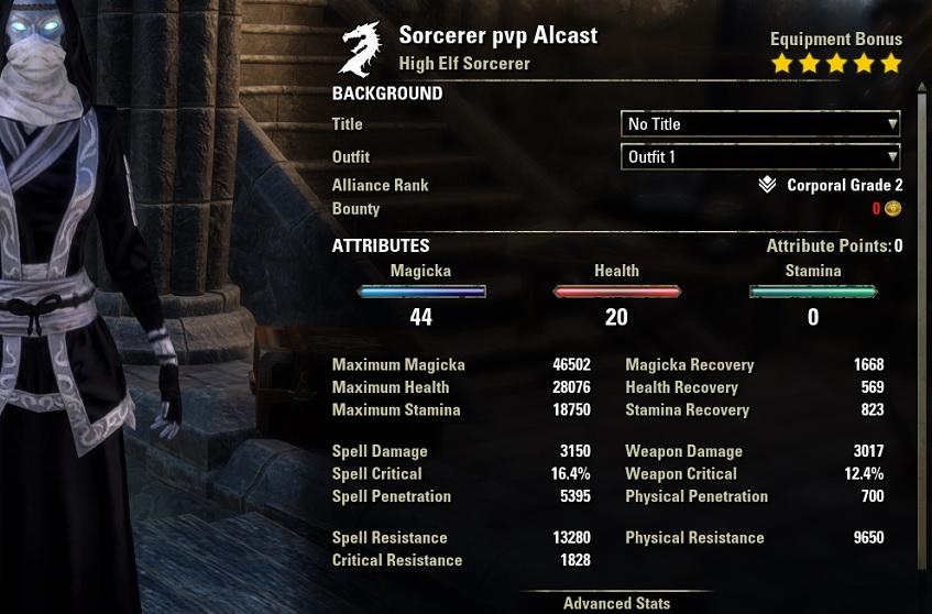 Magicka Sorcerer PvP Build streak unbuffed stats ESO30