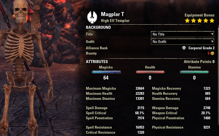Magicka Templar DPS Build unbuffed stats ESO