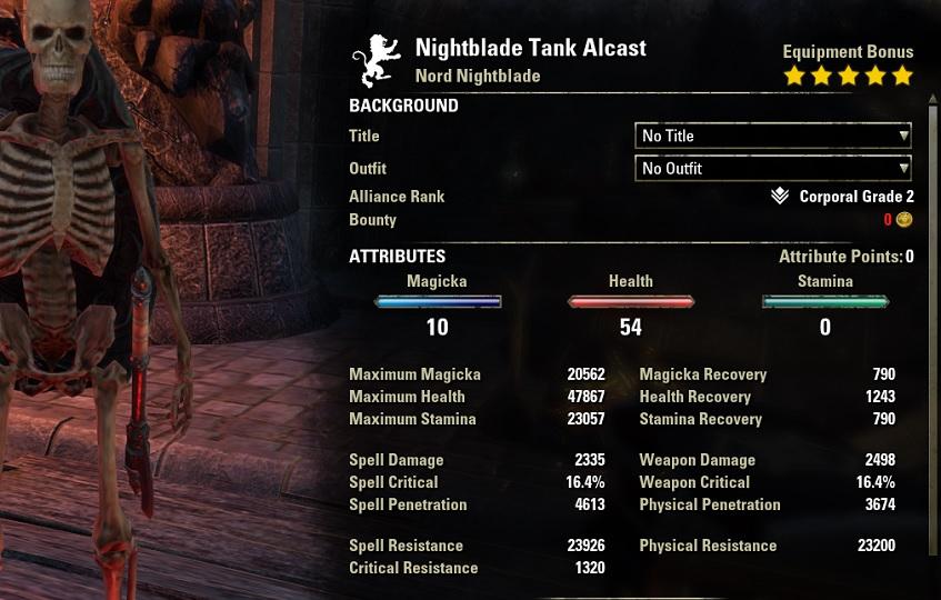 Nightblade Tank Build unbuffed stats ESO30