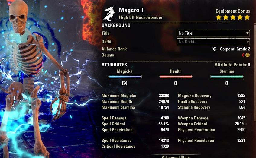 Solo Magicka Necromancer buffed stats ESO1