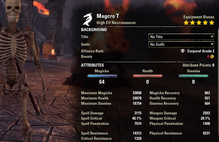 Solo Magicka Necromancer unbuffed stats ESO1