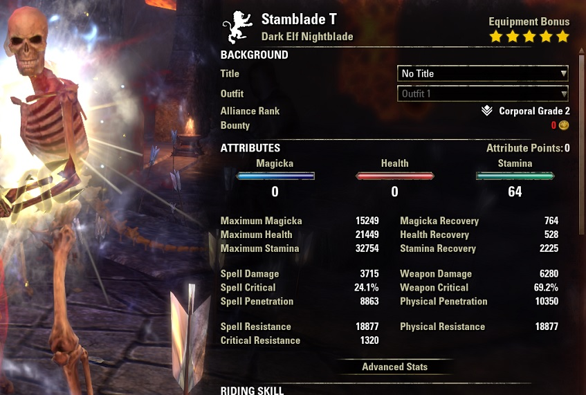 Solo Stamina Nightblade PvE Build buffed stats ESO1