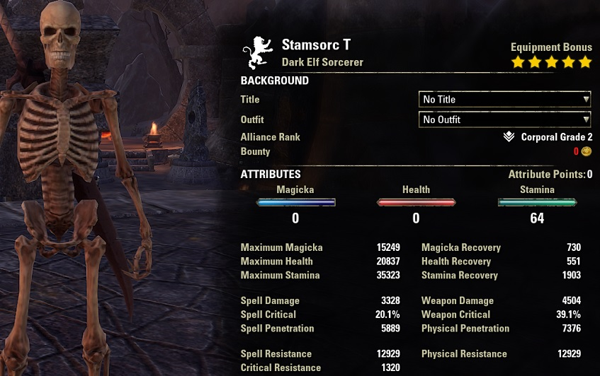 Solo Stamina Sorcerer Build PvE unbuffed stats ESO1