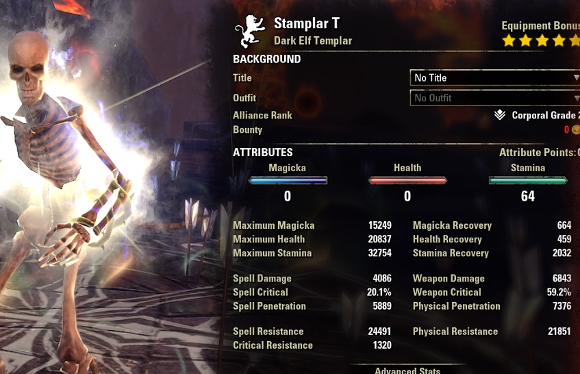 Solo Stamina Templar PvE Build buffed stats ESO1
