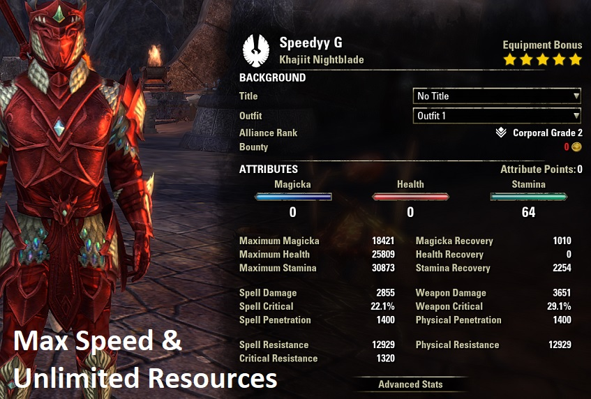 Speedy G Stealth Speed Farm Nightblade Stats ESO