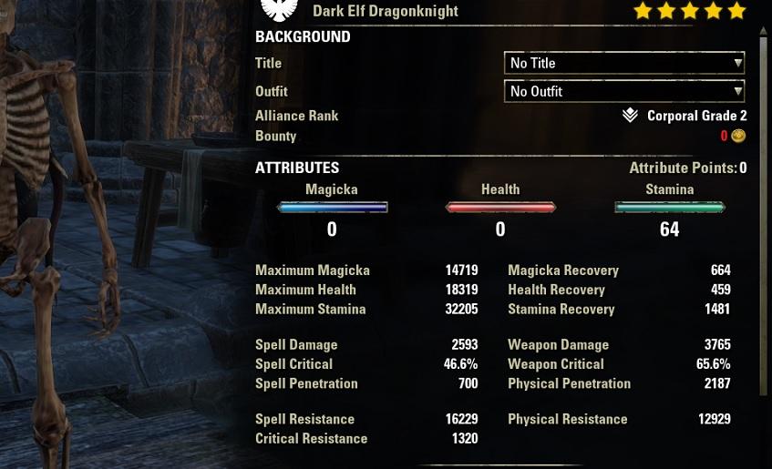 Stamina Dragonknight Bow Build unbuffed stats ESO30
