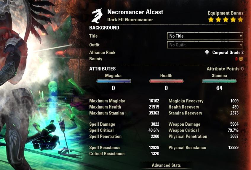 Stamina Necromancer Bow Build buffed Stats ESO30