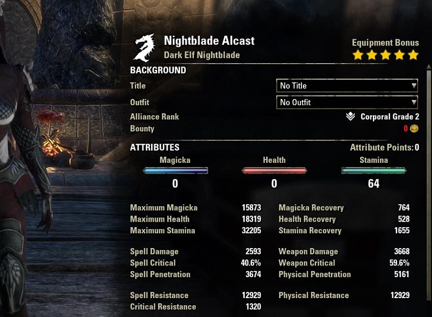 Stamina Nightblade Bow Build unbuffed stats ESO30