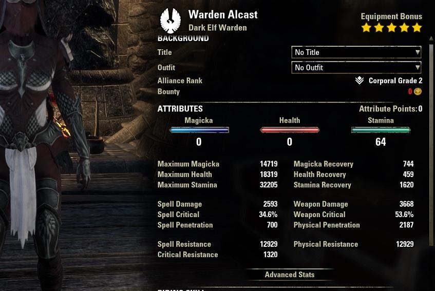 Stamina Warden Bow Build unbuffed stats ESO30