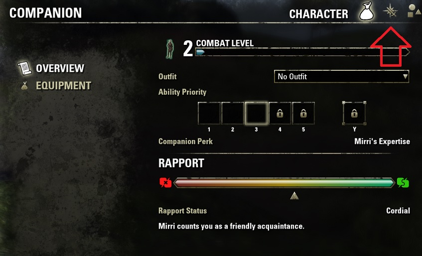 Companion Menu Subsections Blackwood ESO