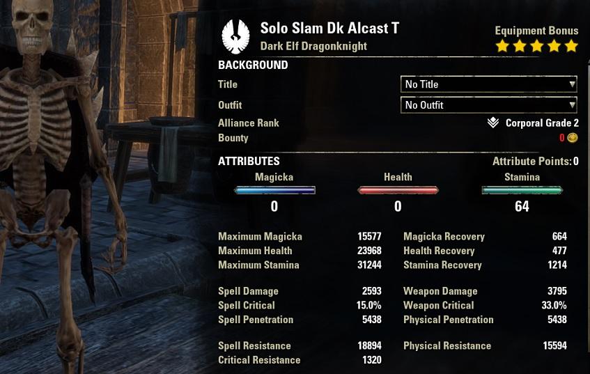 Solo Slam Dragonknight unbuffed stats ESO30