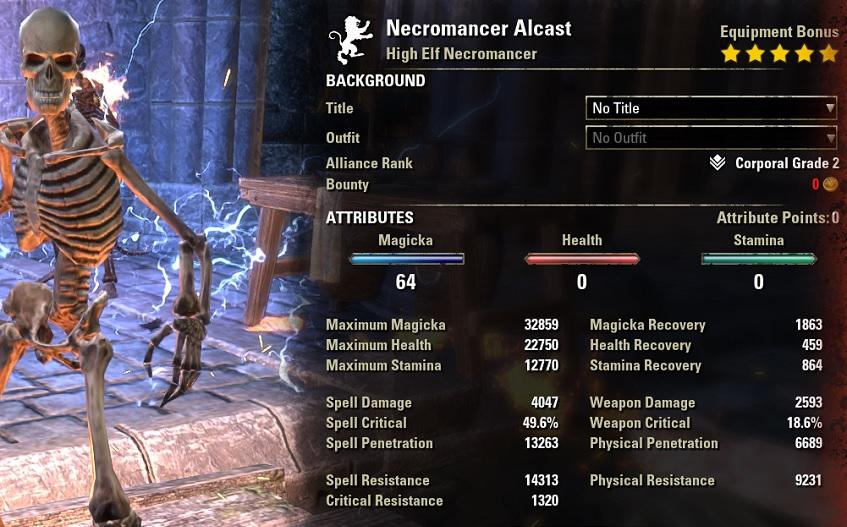 Vampire Necromancer solo build pve buffed stats ESO30