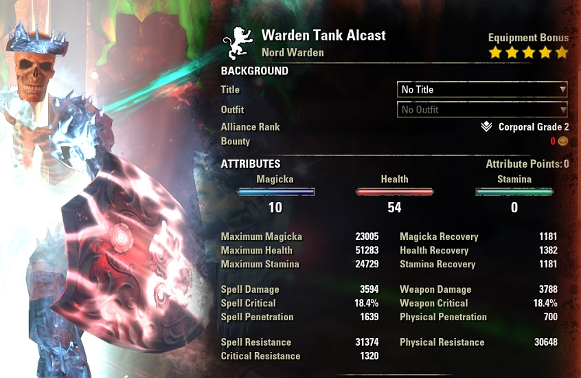 Warden Tank Build buffed stats ESO30