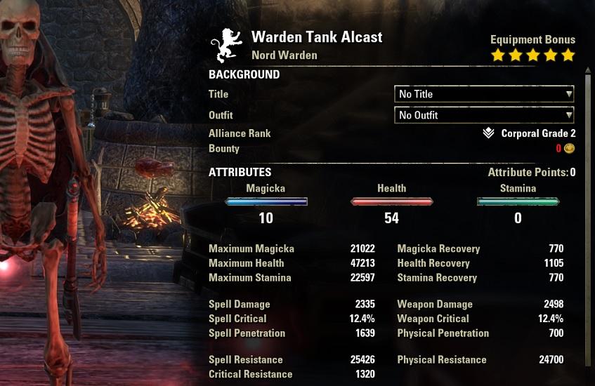 Warden Tank Build unbuffed stats ESO30