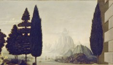 Cipreses en la Anunciación de Leonardo Da Vinci, Uffizi, ca. 1474