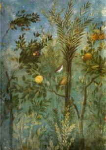 Árboles y melocotonero en los frescos de la Villa di Livia, siglo I a.C., hoy en Museo Nazionale Palazzo Massimo alle Terme, Roma