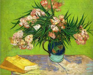 Jarrón con adelfas y libros de Van Gogh