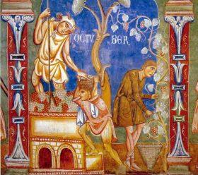 "Detalle de ""October"" (c. 1246-1250). Convento de Santi Quattro Coronati, Roma"