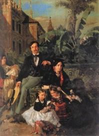 """Bananero y plantas exóticas en la pintura de Alfred Dehondecq """"Los Duques de Montpensier"""". 1853"""