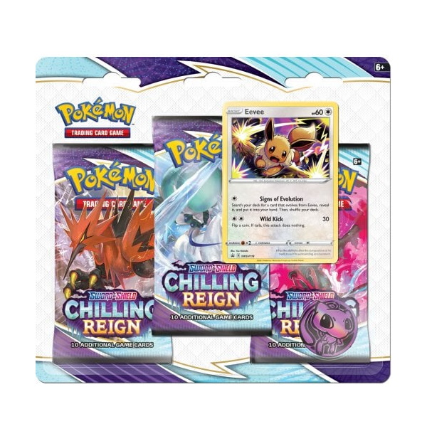 Pokémon Trading Card Game: Sword and Shield - Chilling Reign 3 Pack Blister Evee
