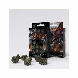 Dragons Bottle green & gold Dice Set (7)