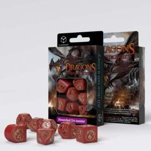 Dragons Modern Dice Set Red & Gold (7)