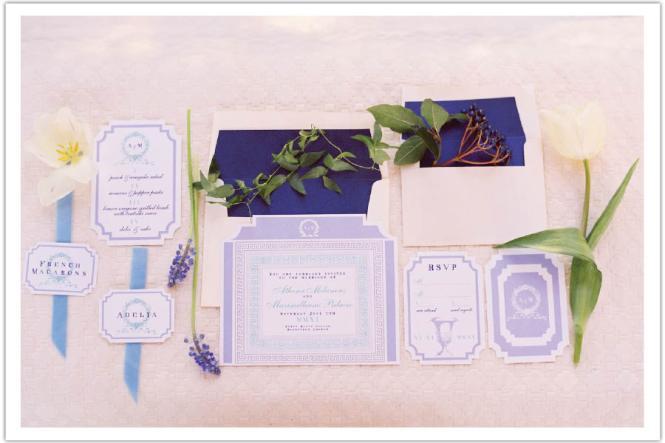 Charming Sakura In Periwinkle Wedding Invitation