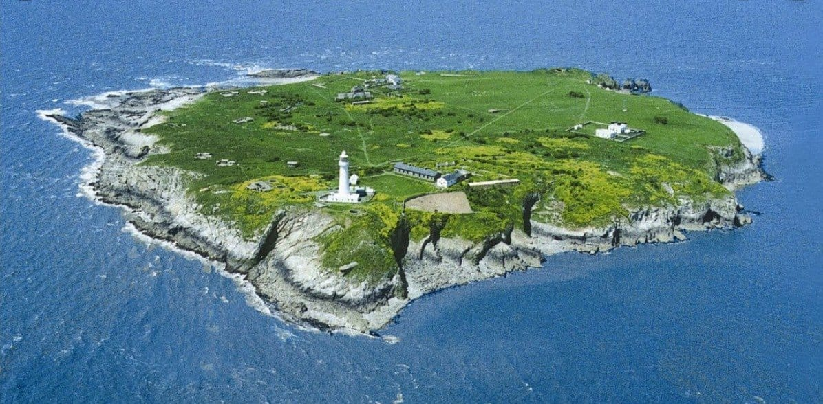 This is a picture of Flat Holm Island, Lighthouse and outbuildings