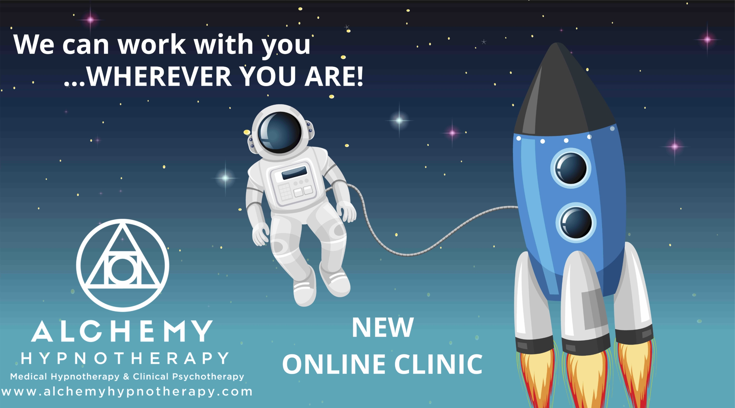 This is a picture of an astronaut and rocket saying we work with you wherever you are.