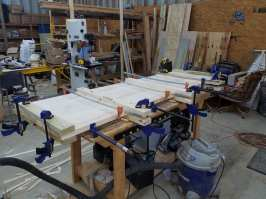 Pine Workbench - Gluing up the top