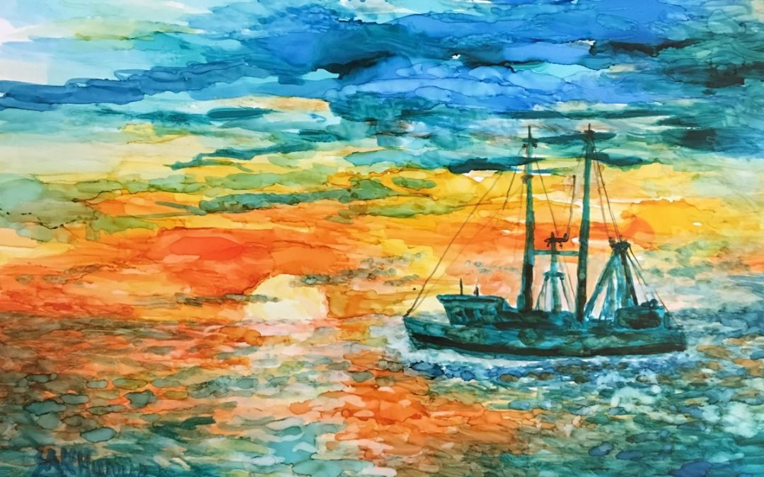 Fishing Boat – Alcohol Ink Art Lesson
