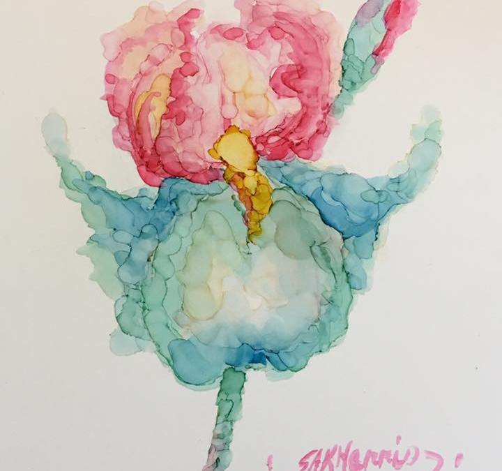 Painting an Iris with Alcohol Ink